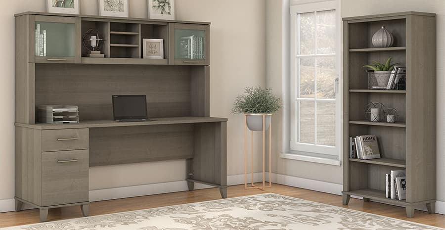 Computer Desk with hutch and shelving unit
