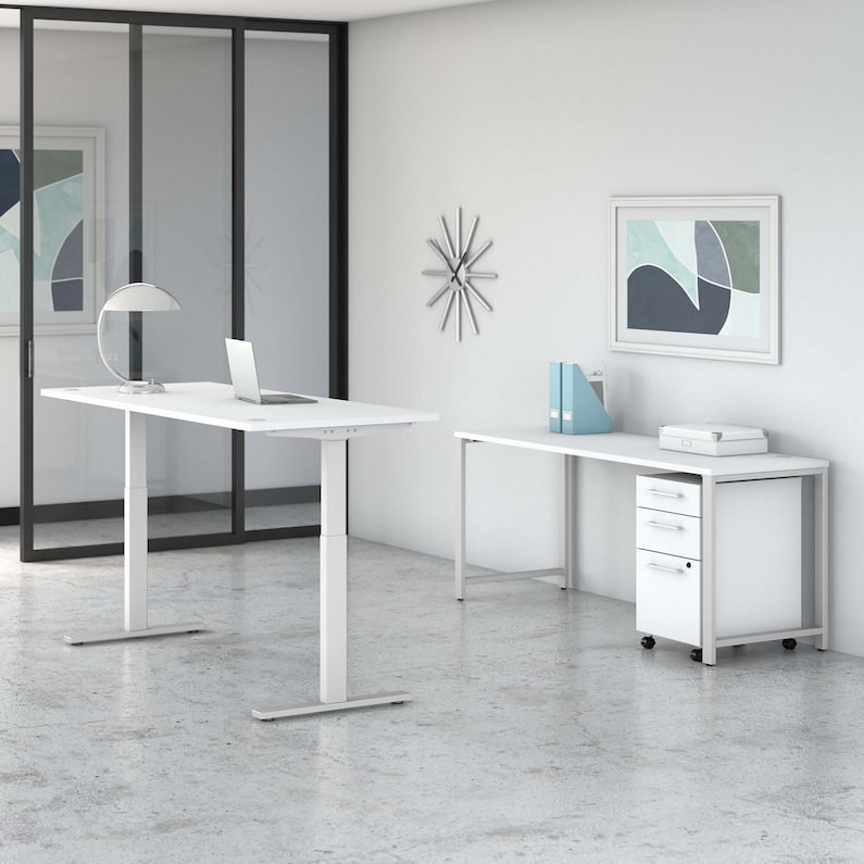 Height Adjustable Standing Desk with Credenza and Drawers - 400 Series