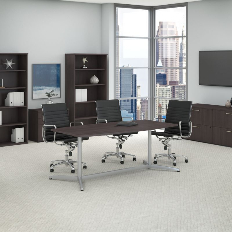 Boat Shaped Conference Table with Set of office Chairs