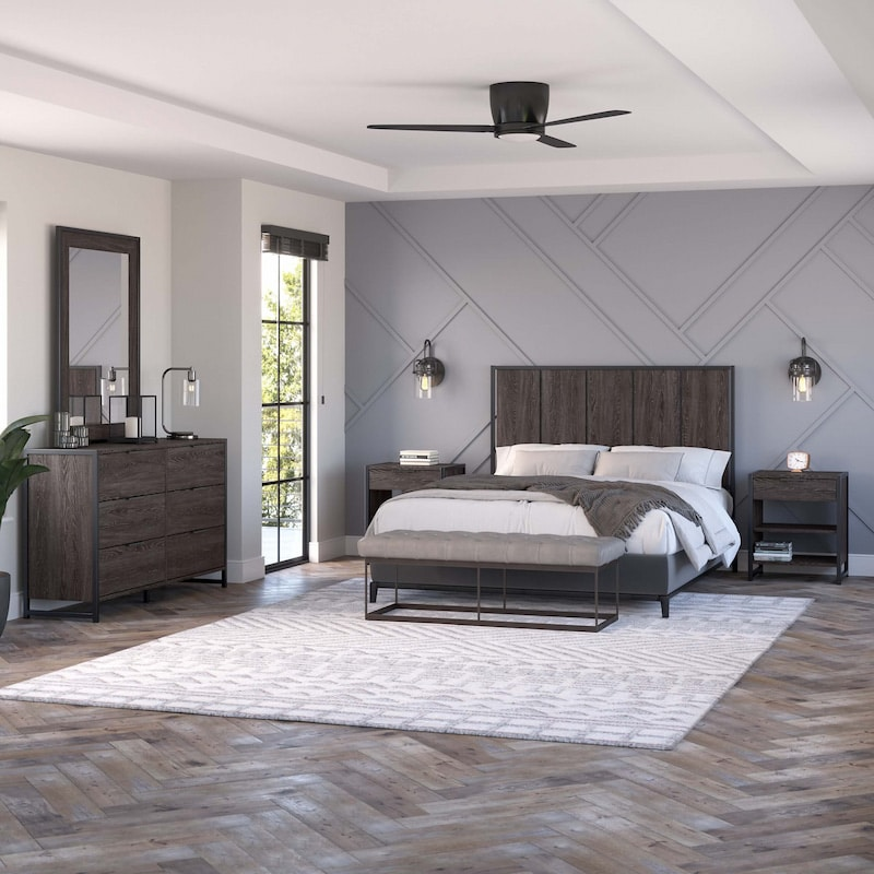 5 Piece Modern Bedroom Set with Full/Queen Size Headboard-Atria Collection