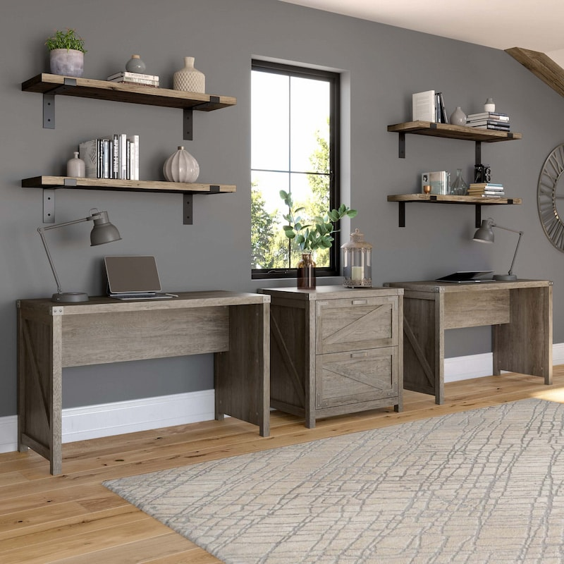 Desk Set with Lateral File Cabinet
