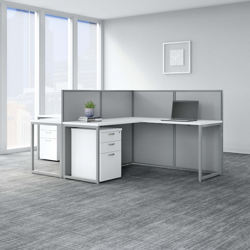 2 Person L Desk with Cubicle Panel and Drawers - Easy-Office-Collection