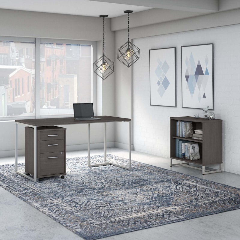 60W Table Desk with Bookcase and Mobile File Cabinet - Method Collection