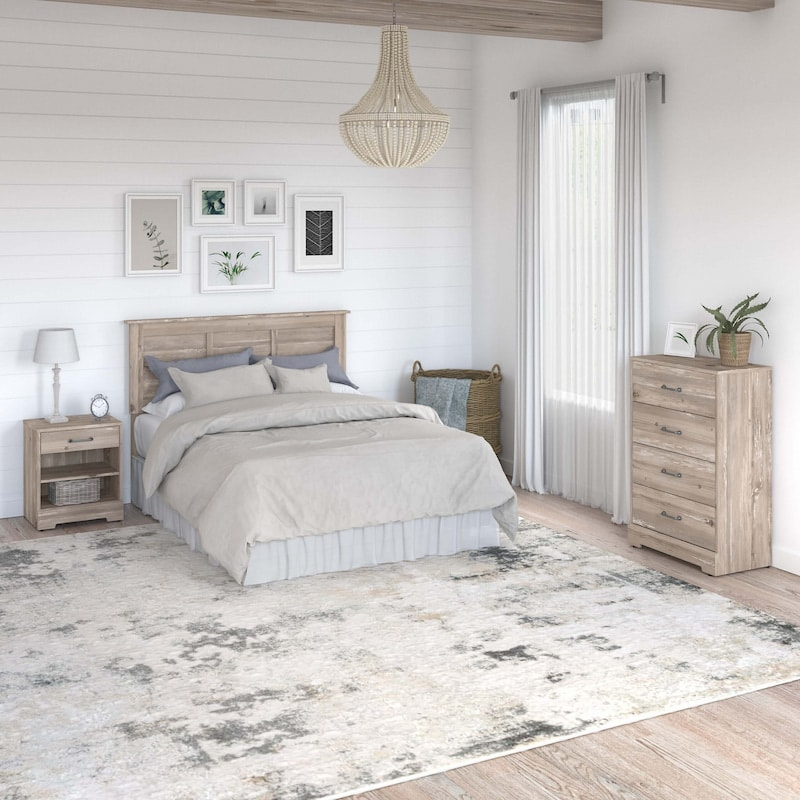 Full/Queen Size Headboard, Chest of Drawers and Nightstand Bedroom Set - Riverbrook Collection