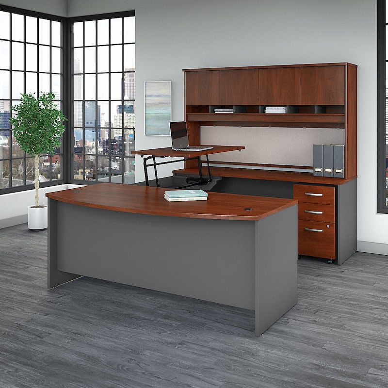 Bow Front U Shaped Desk with Storage-Series-C Collection