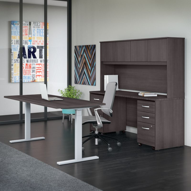 Office Desk with Hutch and Mobile File Cabinet