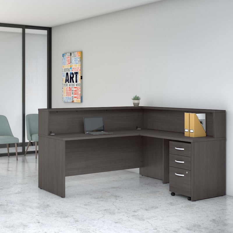 L Shaped Reception Desk with Shelf and Mobile File Cabinet-StudioC Collection