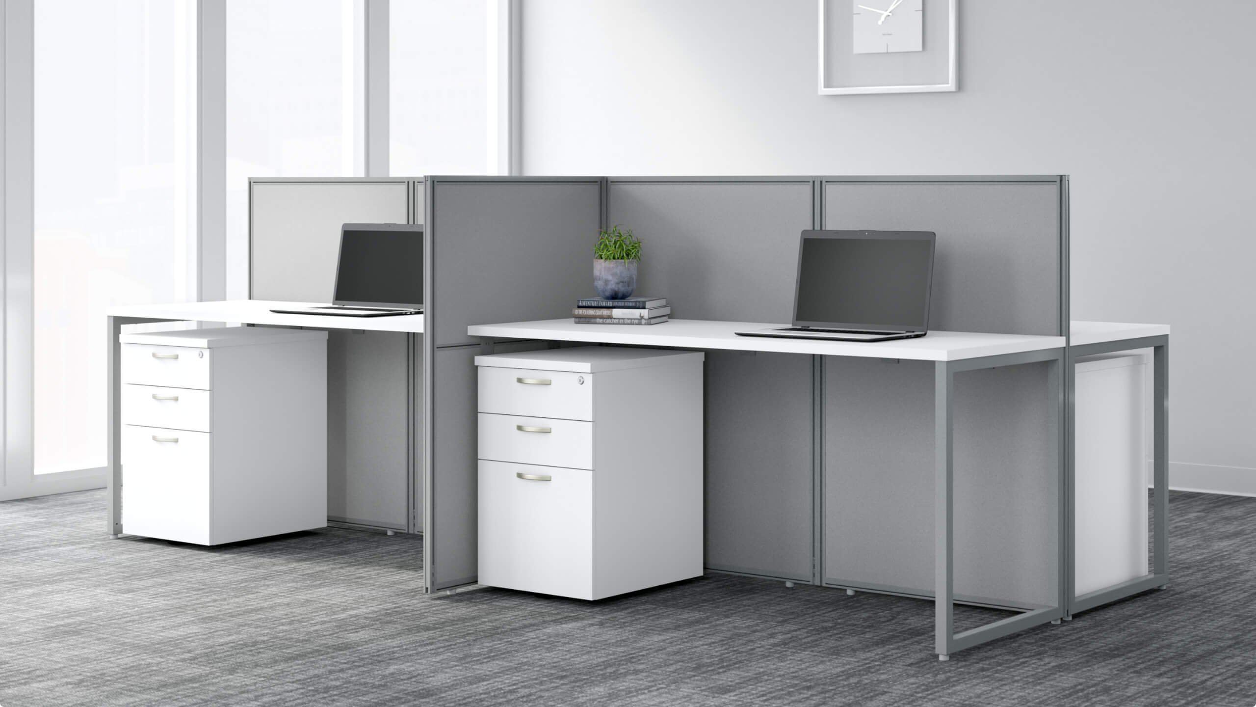 60W 4 Person Desk with 45H Cubicle Panel and File Cabinets