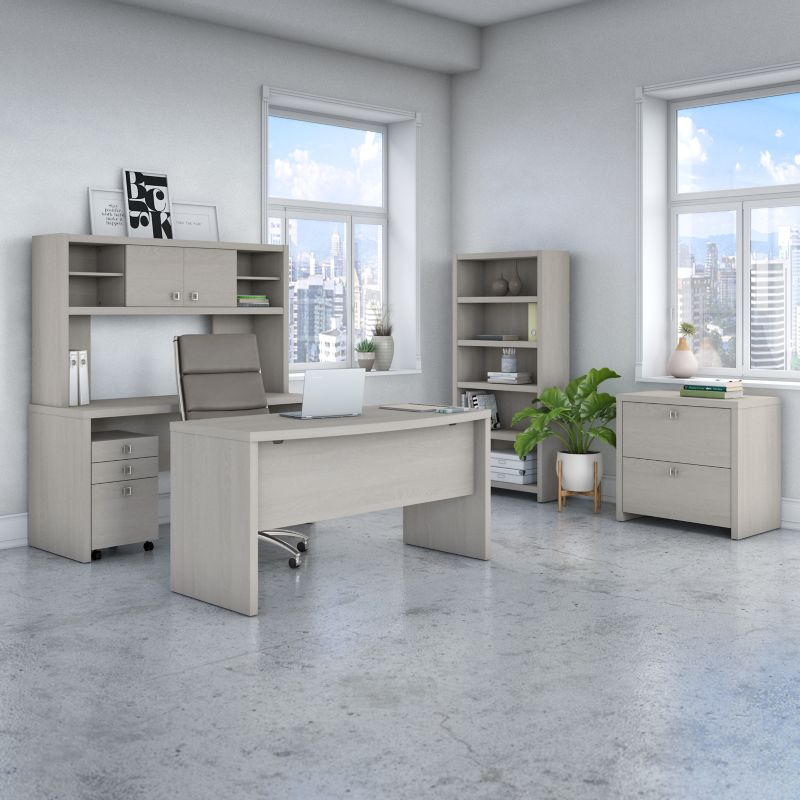 Bow Front Desk, Credenza with Hutch, Bookcase and File Cabinets - Echo Collection