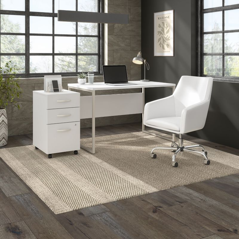 Computer Table Desk and Chair Set with Mobile File Cabinet - Hybrid Collection