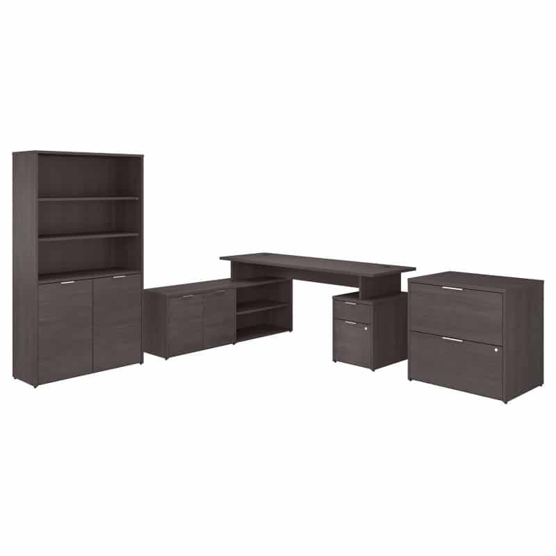 L Shaped Desk with Lateral File Cabinet and Bookcase - Jamestown Collection