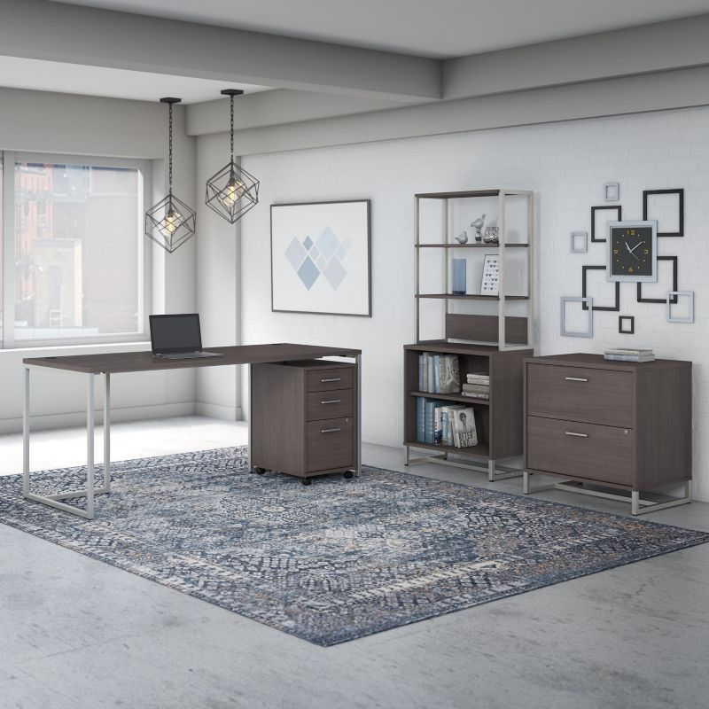 Table Desk with File Cabinets and Bookcase - Method Collection