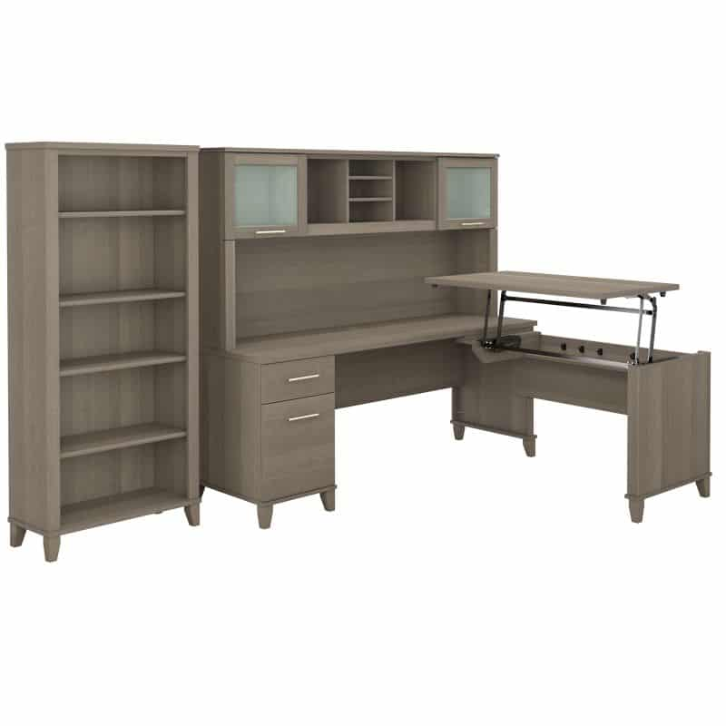 Sit to Stand L Shaped Desk with Hutch and Bookcase - Somerset Collection