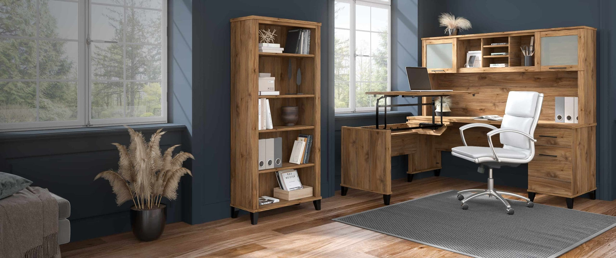 3 Position Sit to Stand L Shaped Desk with Hutch and Bookcase - Somerset Collection - Desktop