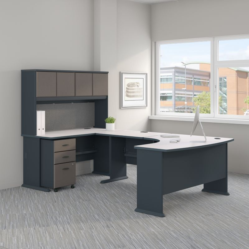 U Shaped Corner Desk with Hutch and Mobile File Cabinet - Series A