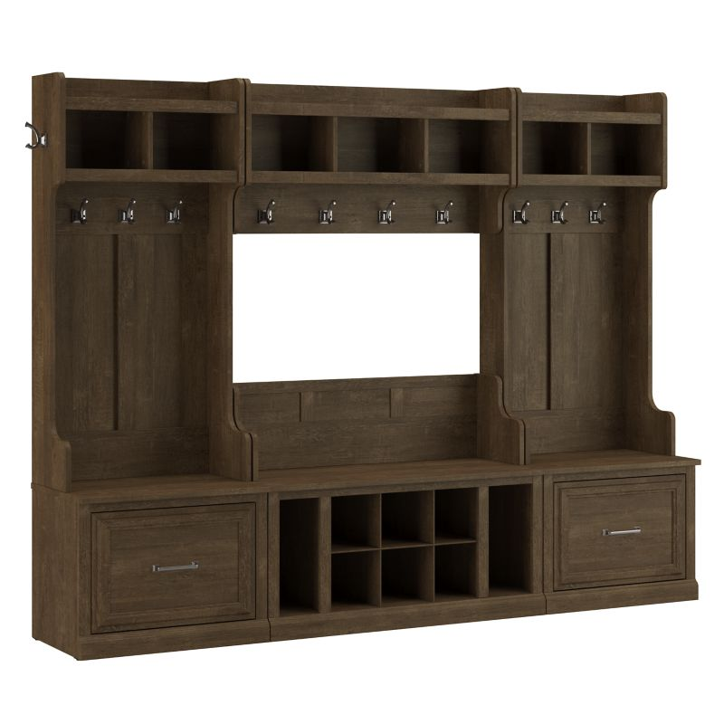 Entryway Storage Set with Coat Rack and Shoe Bench with Drawers - Woodland Collection