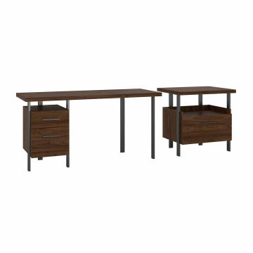 60W Writing Desk with Lateral File Cabinet