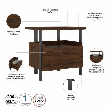 60W Writing Desk with Lateral File Cabinet and 4 Shelf Bookcase