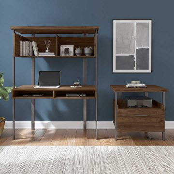 Small Computer Desk with Hutch and Lateral File Cabinet