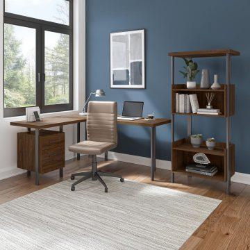 60W L Shaped Desk with 4 Shelf Bookcase