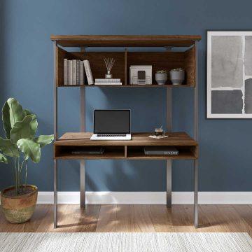 Small Computer Desk with Hutch