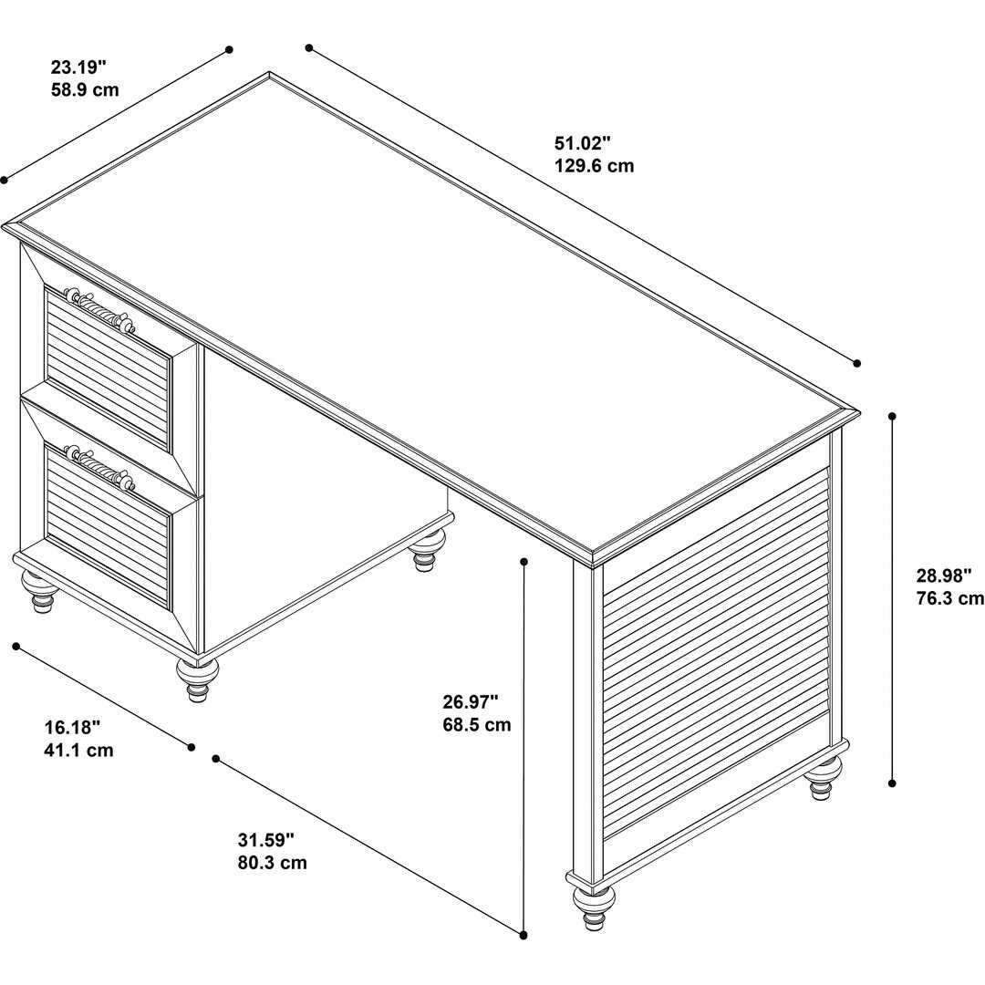 51W Desk with 2 Drawer Pedestal