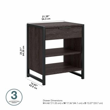 Small Nightstand with Drawer and Shelves