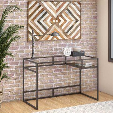 48W Glass Top Writing Desk with Shelf