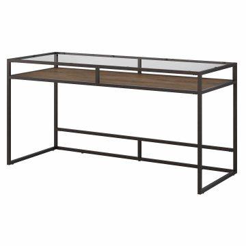 60W Glass Top Writing Desk with Shelf