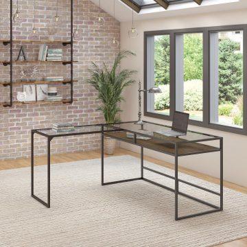 60W Glass Top L Shaped Desk with Shelf