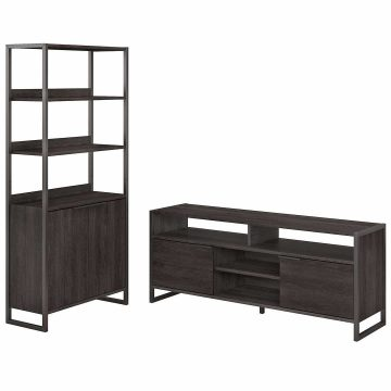 TV Stand and 5 Shelf Bookcase with Doors
