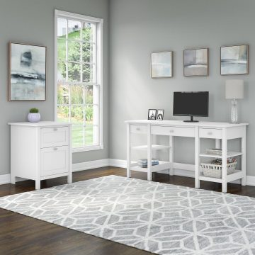 60W Desk with Storage Shelves and 2 Drawer File Cabinet