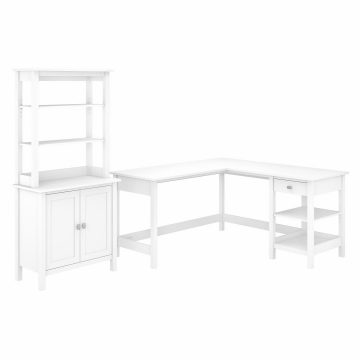 60W L Shaped Computer Desk with Accent Storage Cabinet and Hutch