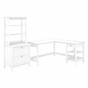 60W L Shaped Computer Desk with Lateral File Cabinet and Hutch