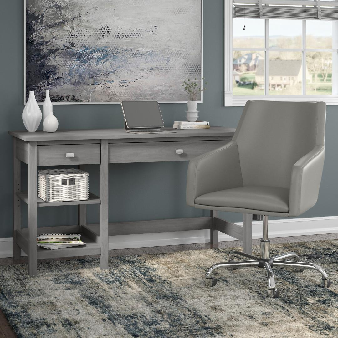 54W Computer Desk with Shelves and Mid Back Leather Box Chair