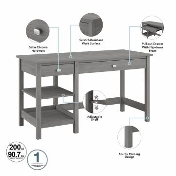 54W Computer Desk with Shelves