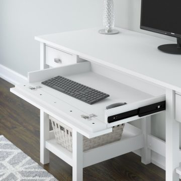 60W Desk with Storage Shelves and Drawers