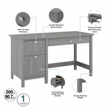 54W Computer Desk with Drawers