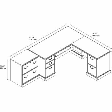 L Shaped Desk and Lateral File Cabinet