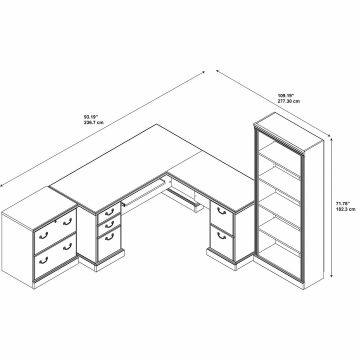 L Shaped Desk, Lateral File Cabinet and Bookcase