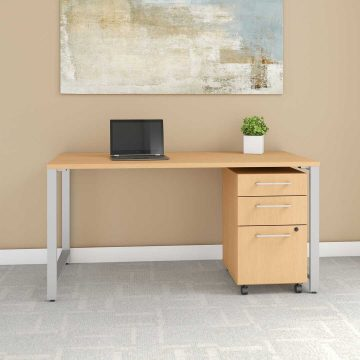 60W x 30D Table Desk with 3 Drawer Mobile File Cabinet