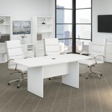 72W x 36D Boat Shaped Conference Table with Wood Base