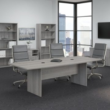 96W x 42D Boat Shaped Conference Table with Wood Base