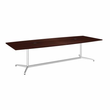 120W x 48D Boat Shaped Conference Table with Metal Base