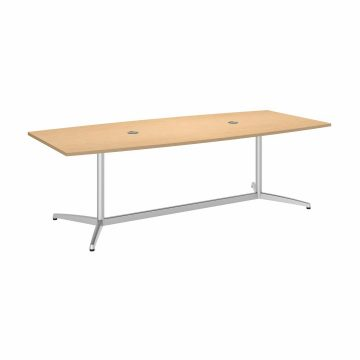 96W x 42D Boat Shaped Conference Table with Metal Base