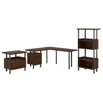 60W L Shaped Desk with Lateral File Cabinet and 4 Shelf Bookcase