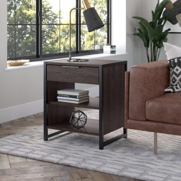 Small End Table with Drawer and Shelves