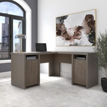 L Shaped Computer Desk with Storage Cabinets and Shelves