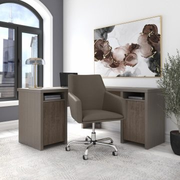 L Shaped Computer Desk and Chair Set