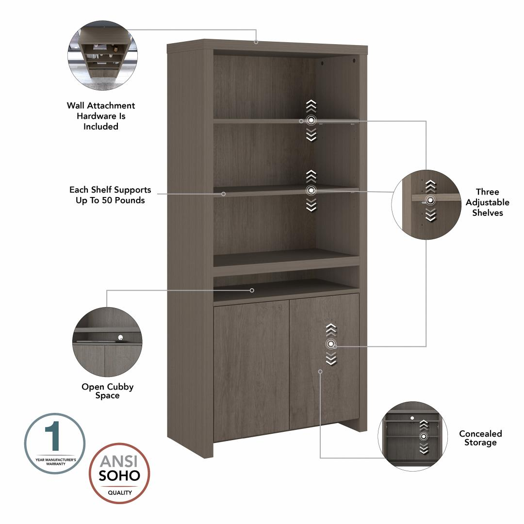 Tall 6 Shelf Bookcase with Doors - Set of 2